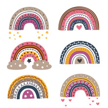 Set Of Isolated Beautiful Rainbows Part  2 - Vector Illustration, Eps