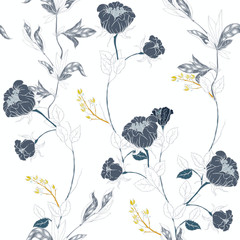 Fototapeta Kwiaty Delicate pink twigs of wild roses with inflorescences, leaves and petals on a dark blue background. Floral seamless pattern.