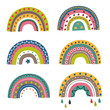 set of isolated colorful rainbows part 2 - vector illustration, eps