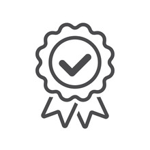 Approved Or Certified Badge Correct Mark Icon Line Vector