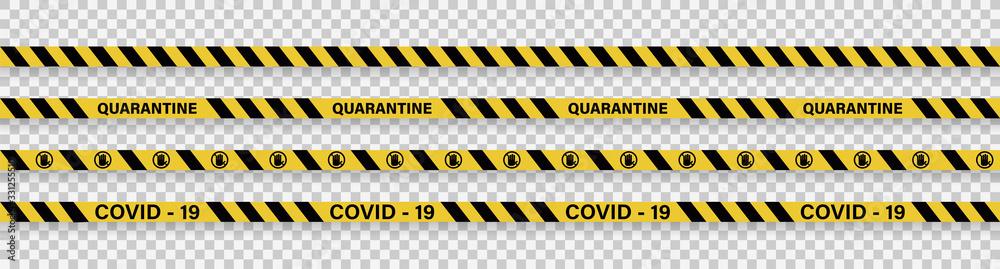 Fototapeta Strips of quarantine. Warning coronavirus quarantine yellow and black stripes. Isolated on transparent background. Vector
