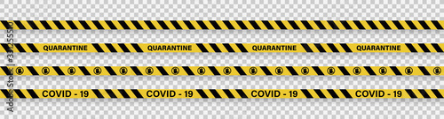 Fototapeta Strips of quarantine. Warning coronavirus quarantine yellow and black stripes. Isolated on transparent background. Vector obraz