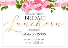 Bridal Luncheon Hand Written Calligraphy Vector Invitation Card