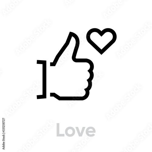 Obraz Love thumb up down icon. Editable line vector. - fototapety do salonu