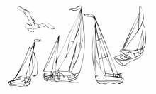 Set Of Four Black Silhouette Sailboats, Set Of Sailboat Icons