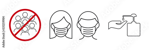 Obraz Icon images wearing a mask, washing your hands and avoiding assembly. Coronavirus or Covid 19 protection concept. - fototapety do salonu