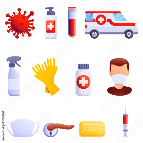 set of cartoon icons on the theme of disease and virus, vector illustration