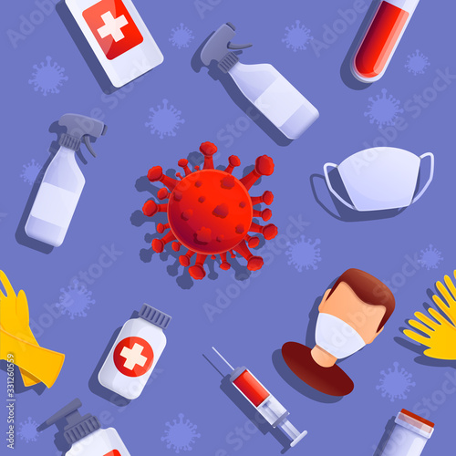 cartoon background on the theme of virus and disease, vector illustration