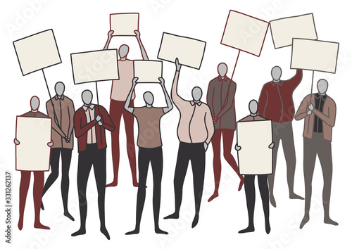 Drawing of faceless crowd with blank signs and posters Canvas Print
