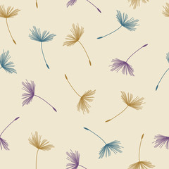 Fototapeta Dmuchawce Seamless abstract floral pattern of dandelion flying seeds in pastel colors on beige background. Vintage retro style. Vector design for fabric textile, wallpaper, wrapping paper, package, covers.