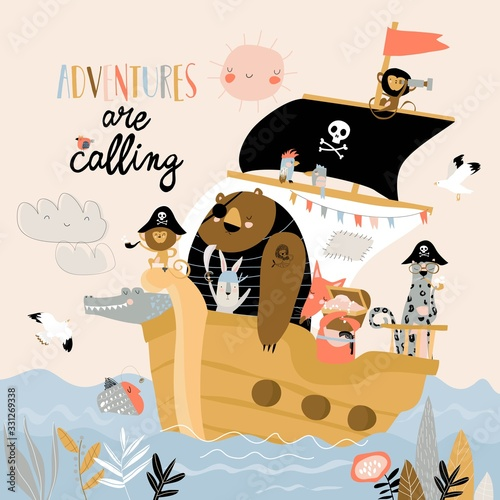 Cute cartoon animals pirates sailing in their ship Wallpaper Mural