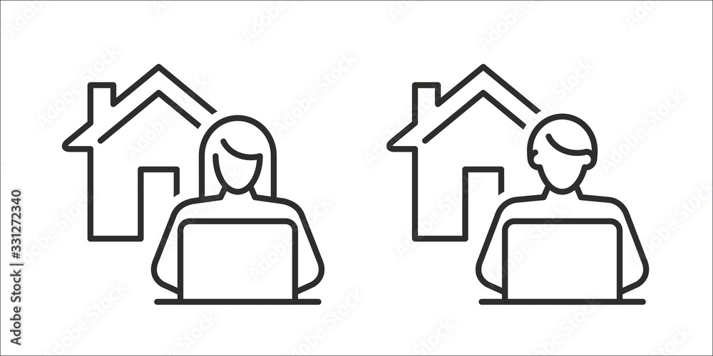 Fototapeta Work from home - Remote work online icon, sign - Coronavirus quarantine preventive measures for social distancing - person working on laptop at home icon isolated on white background