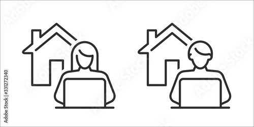 Work from home - Remote work online icon, sign - Coronavirus quarantine preventive measures for social distancing - person working on laptop at home icon isolated on white background - 331272340