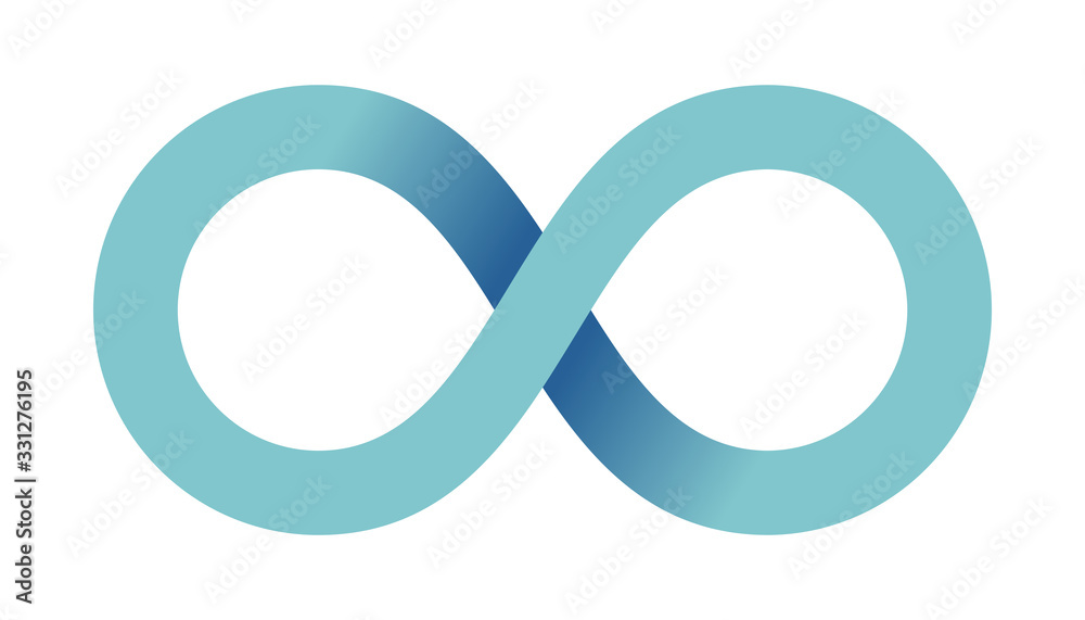Fototapeta Abstract infinity sign. Infinity loop mathematical symbol in flat style with shadows. Isolated on white background. Color gradient icon. Vector illustration.