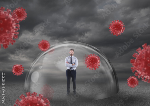 Foto Businessman safely inside a shield dome that protects him from virus
