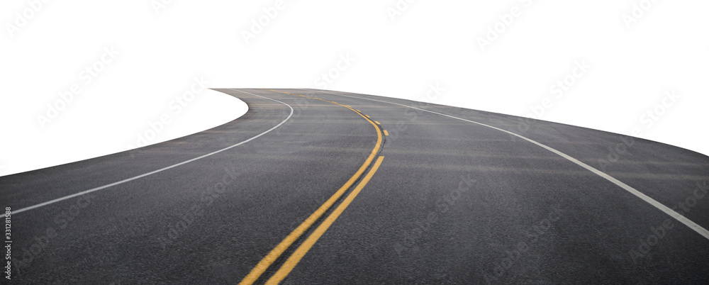 Fototapeta Winding asphalt road with yellow symbol