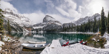 Panorama Of Lake O'hara With Canoe In Wooden Dock On Winter At Yoho National Park
