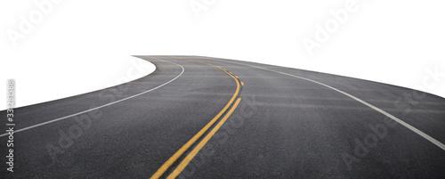 Obraz Winding asphalt road with yellow symbol - fototapety do salonu