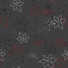 Set Black White Flower, For Pattern Seamless, Material, Paper, Wallpaper, Textil, Gray Background