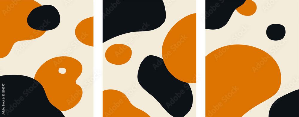 Fototapeta Organic Minimalist Art Orange and Black set vector
