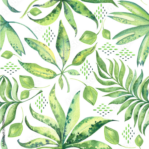 Obraz Seamless pattern of tropic leaves - fototapety do salonu