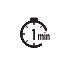 1 Minute Timer, Stopwatch Or Countdown Icon. Time Measure. Chronometr Icon. Stock Vector Illustration Isolated On White Background.