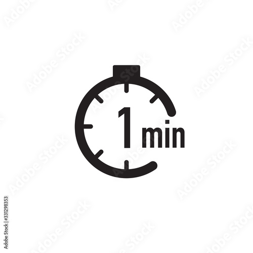 Obraz 1 minute timer, stopwatch or countdown icon. Time measure. Chronometr icon. Stock Vector illustration isolated on white background. - fototapety do salonu