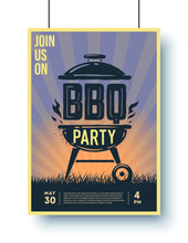 Barbecue Vintage Poster. BBQ Time. Barbecue Party. Vintage Poster.