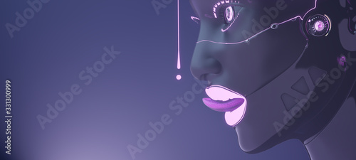 Female cyborg face with pink neon liquid drops, artificial intelligence futurist Wallpaper Mural