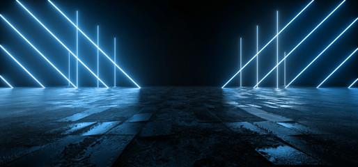 Kozmička Sci Fi futuristička Pantone plava neonska moderna laserska grunge gruba cementna popločana betonska podna svjetla u obliku trokuta VIbrant Electric Cyber Virtual 3D Rendering