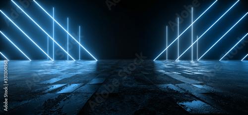 Fototapeta Cosmic Sci Fi Futuristic Pantone Blue Neon Modern Laser Grunge Rough Cement Tiled Concrete Floor Triangle Shaped Lights VIbrant Electric Cyber Virtual 3D Rendering obraz
