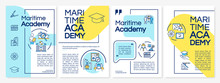 Marine Education Brochure Template. Nautical College Graduate. Flyer, Booklet, Leaflet Print, Cover Design With Linear Icons. Vector Layouts For Magazines, Annual Reports, Advertising Posters