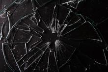 Close Up Of Broken Glass On Da...
