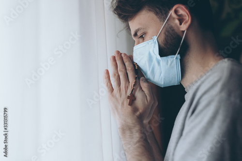 A man who prays to the Lord during an epidemic Canvas Print