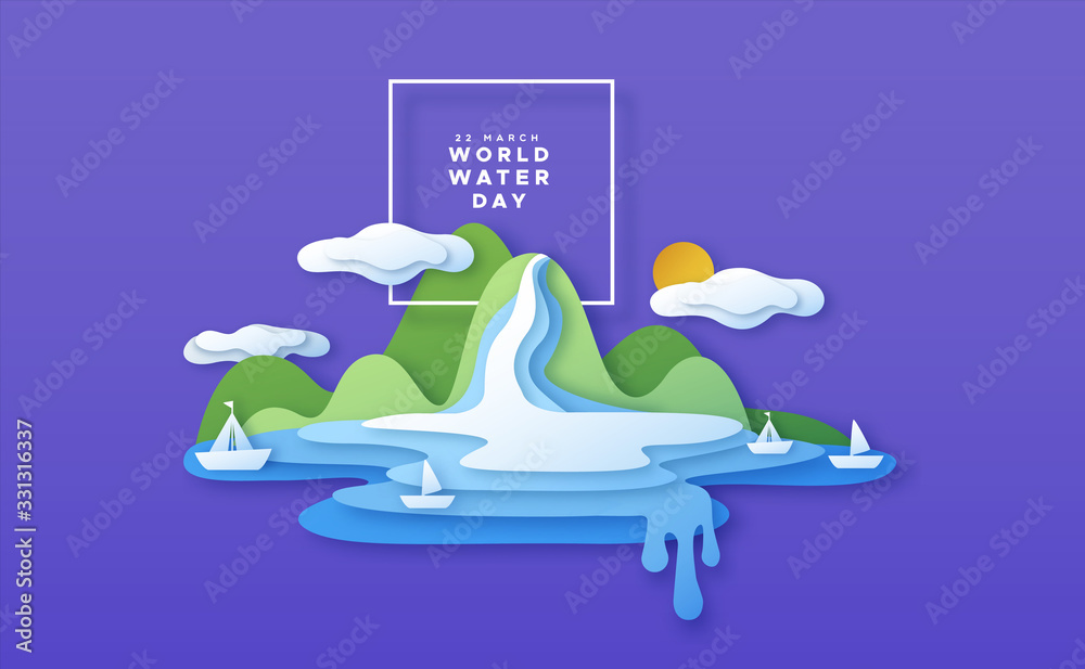 Fototapeta World water day paper cut boat beach concept