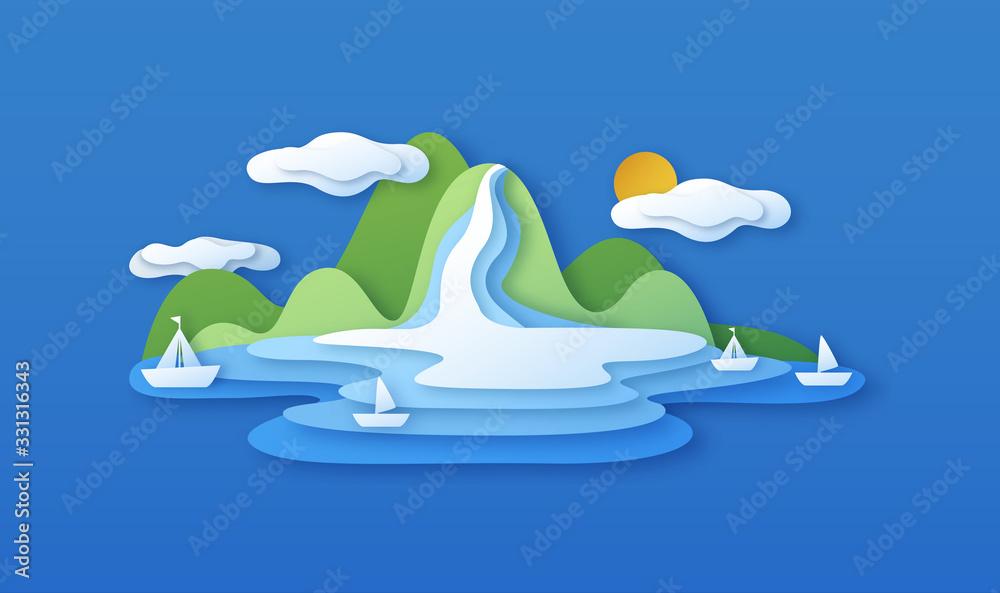 Fototapeta Paper cut island beach landscape with sea boats