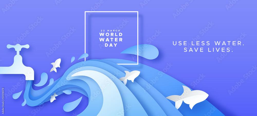 Fototapeta World water day card of paper cut tap waste