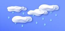 Paper Cut Storm Clouds With Rain On Blue Sky