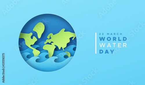 Obraz World water day paper cut earth card with sea wave - fototapety do salonu