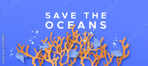 Obraz Save the ocean water paper cut coral reef concept - fototapety do salonu