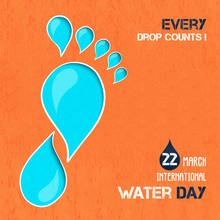 Water Day Awareness Card Of Liquid Footprint