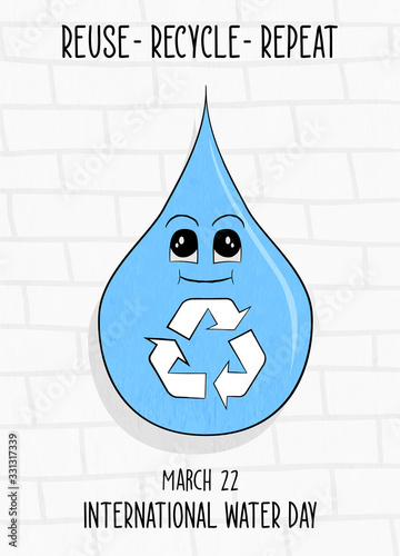 Obraz World water day card sustainable recycle and reuse - fototapety do salonu