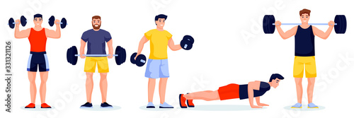 Fotomural Male athletes in different poses on white background