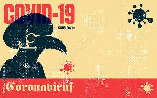 Obraz Coronavirus. Covid-19. Coronavirus quarantine vector vintage poster of plague doctor mask. - fototapety do salonu