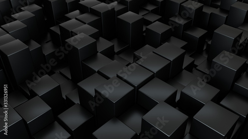 Abstract 3d rendering geometric surface, black minimal texture. Modern background design - 331326951