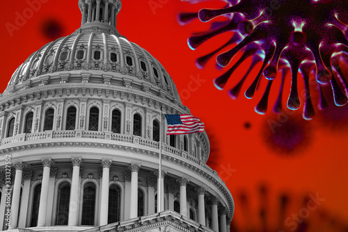 Fotografiet US Flag Capitol State Building Covid19 2020 Pandemic