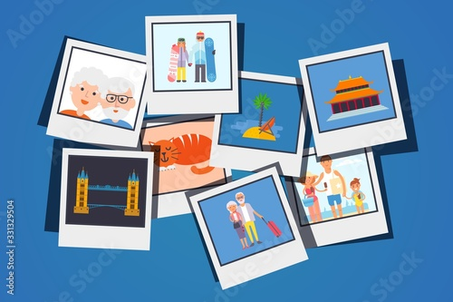 Obraz Memory of elderly couple about life, travel, tropical country, snowboard, cat vector illustration. Trip around Europe, Asia. Mood board with photography, nostalgia time. Flat style. - fototapety do salonu