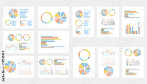 Fotomural 円グラフ棒グラフ資料イメージとグレー背景