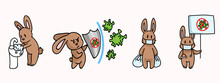 Corona Virus Kids Cartoon Fight Set Infographic. Viral Flu Info Cute Bunny. Educational Graphic With Picture Of Virus. Friendly Icon For Young Children. Vector Flu Safety Caution Awareness.
