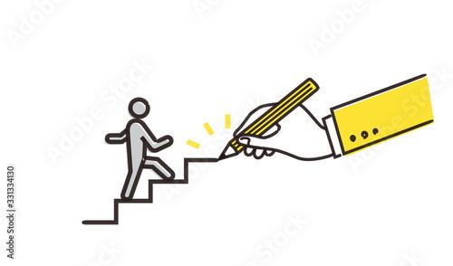 Photo 人物と描かれた階段のイメージ